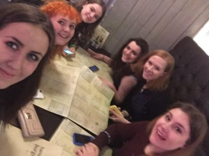 A group photo of the 6 of us who ate at the restaurant. Abbie (front left) tweeted this to the one and only Jenna Coleman. She favourited it. We died.